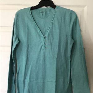 Eddie Bauer teal henley thermal